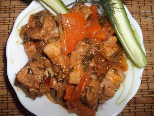 курица тушеная с овощами в кисло сладком соусе рецепт
