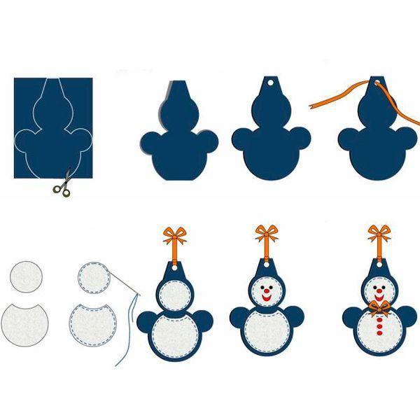 Необходимо вырезать из цветного картона контур снеговика, середину каждого круга сделать и ватного диска. Лицо и пуговицы нарисуйте на диске фломастером. Сверху завяжите ленту.