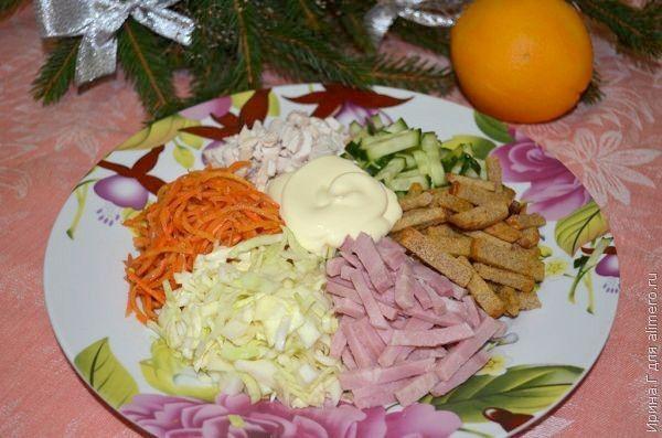 слоеный салат с курицей и ананасами и грибами рецепт с фото в