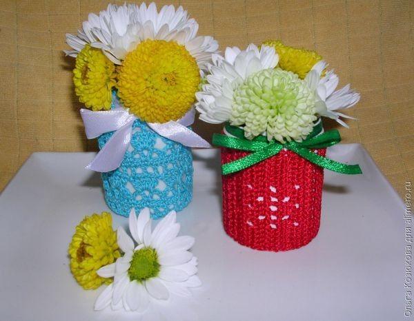 Бутылочки с цветами