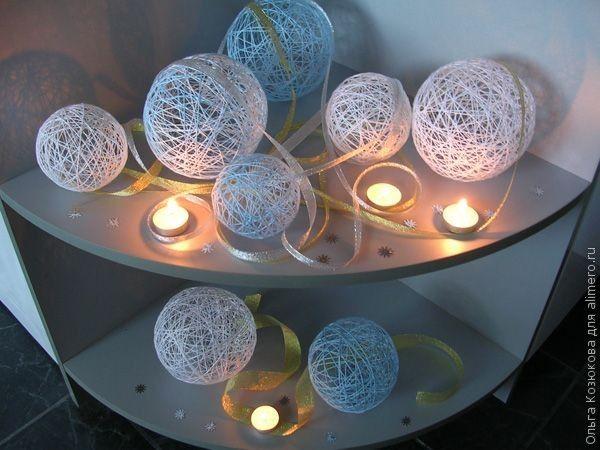 Как сделать декоративные шарики из ниток