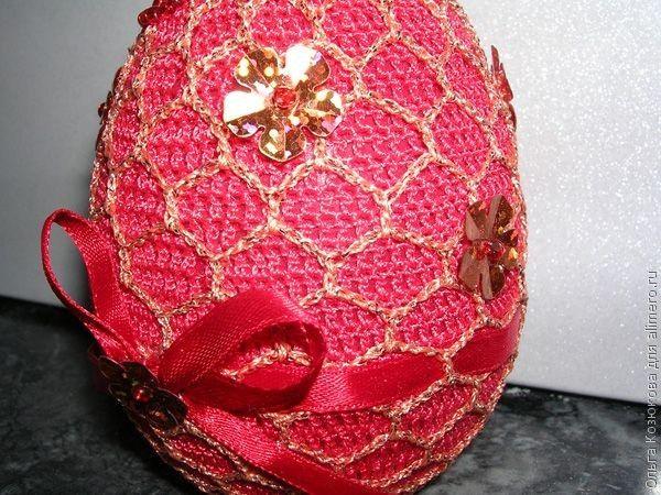 Обвязанное пасхальное яйцо