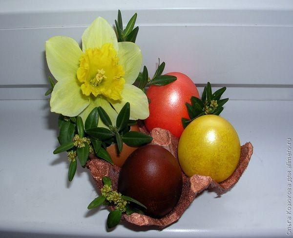 Пасхальные композиции из яиц и цветов