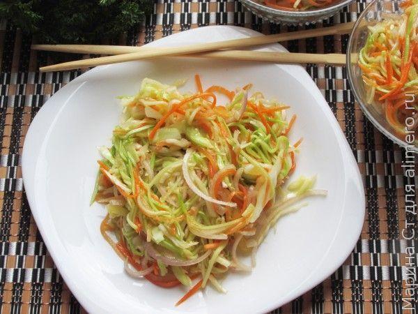 Закуска из кабачков с овощами по-корейски