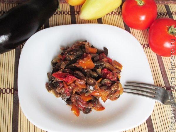 Острые баклажаны с овощами и соевым соусом