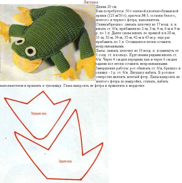 Вязаные игрушки схемы лягушка