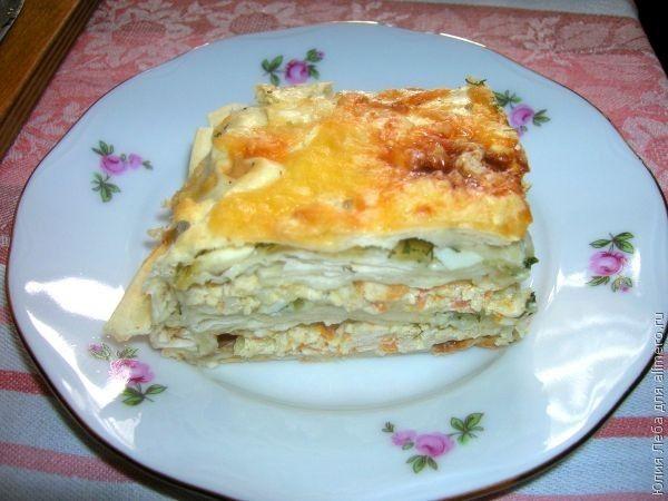 Пирог с курицей, яйцом и сыром