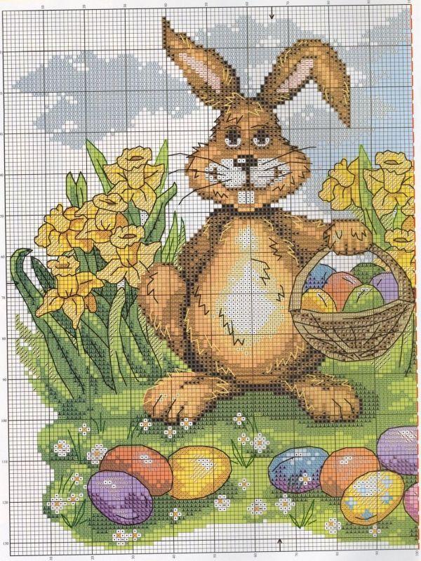 Канва для вышивки крестом Пасхальный кролик.
