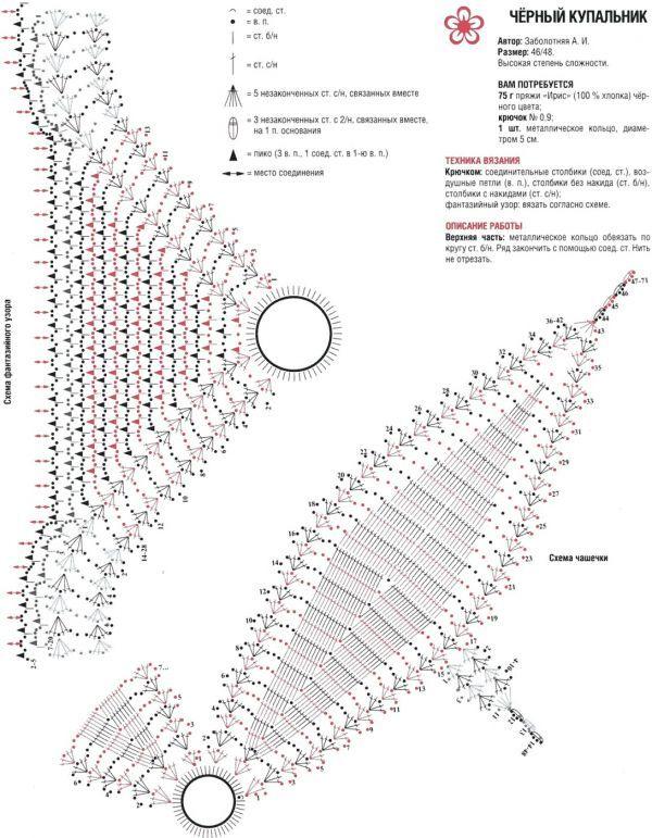 Купальник крючком схема и описание как связать 43