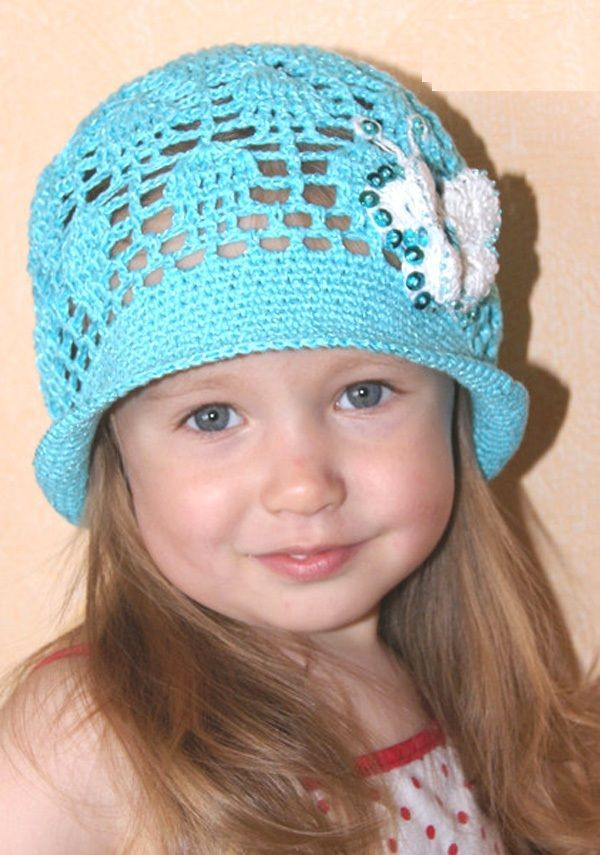 Вязаные детские летние шапочки крючком со схемами