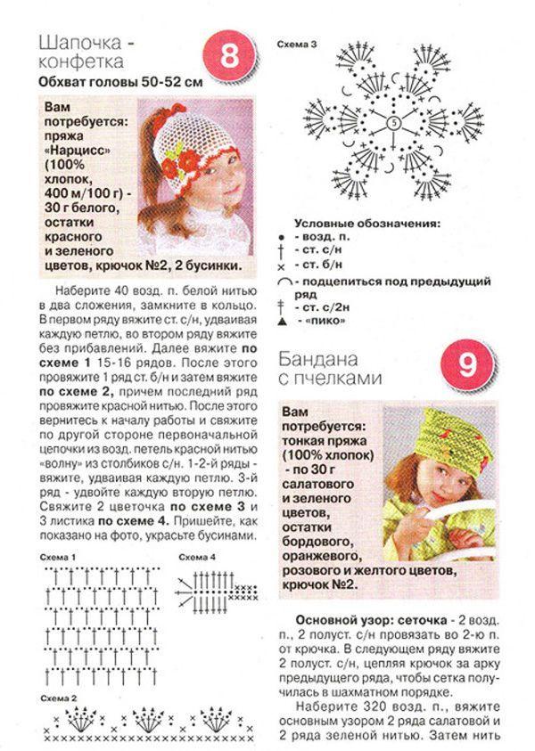 детские береты Схемы и узоры по