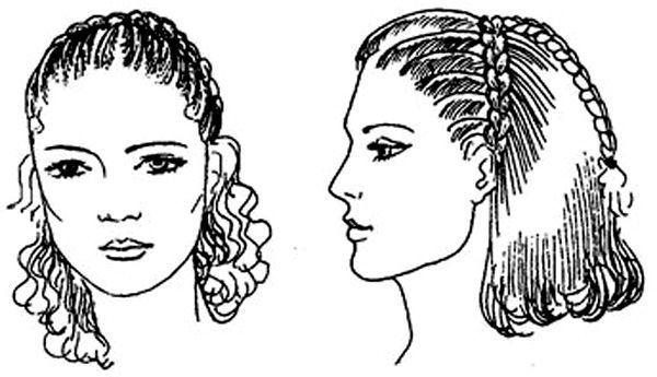 Варианты причёски на основе полуколоска Она вплетает концы полуколосков в общую косу и плетёт ещё один ряд.