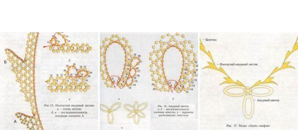 Украшение состоит из шести изогнутых листиков и цветка с тремя лепестками, которые плетутся с использованием двух цветов бисера. Лучше использовать некрупный круглый бисер.