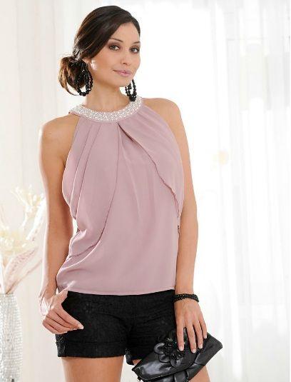 Блузки летние розовые из шифона 110