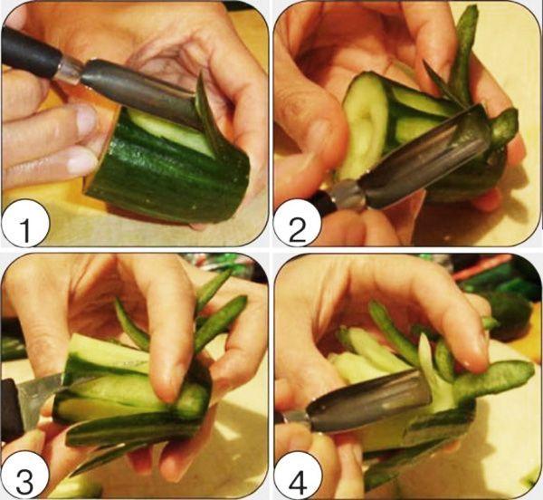 Для начала потребуется свежий огурец и желательно вооружиться овальным ножом для создания красивых лепесточков.