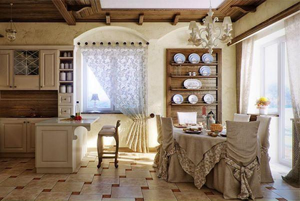 В оформлении этой уютной кухни использовалось натуральное дерево. Справа – окно и балконная дверь, полностью остеклённая.