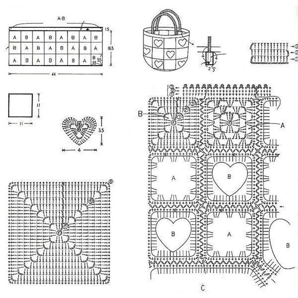 Схемы вязаных сумок | Женские