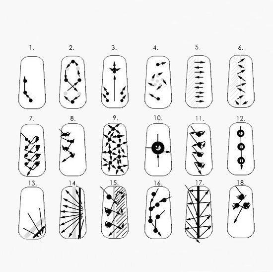 на ногтях иголкой схемы