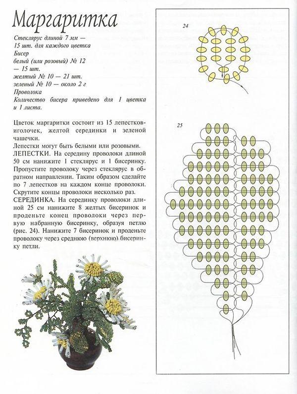Как сделать цветы с бисера