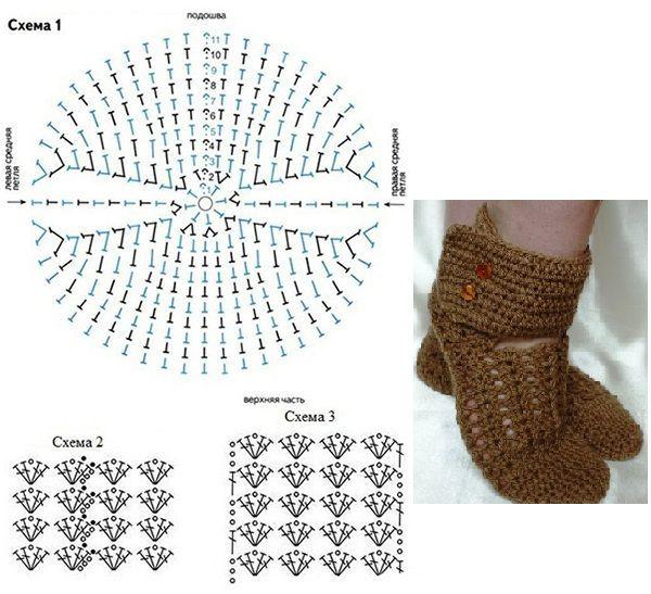 Тапочки крючком схема. 1 из 15