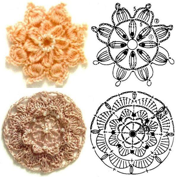 цветы крючком схемы увлечения и хобби