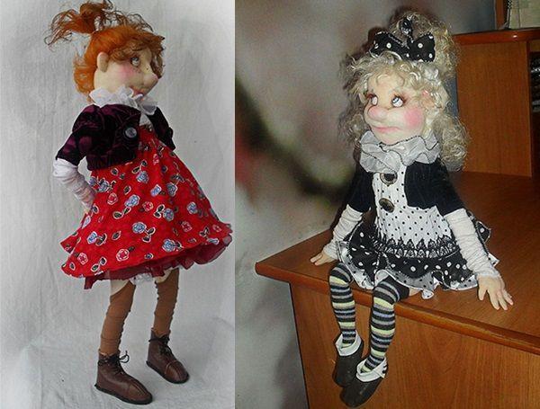 Куклы авторской работы с использованием капрона, проволочного каркаса и синтепона. Одежда – трикотаж, волосы – натуральная козья шерсть.
