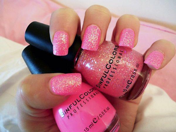 Фото ногтей розовые с блестками