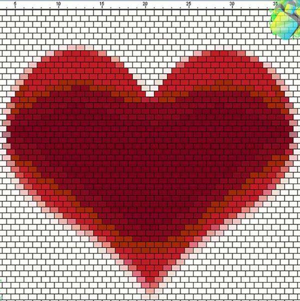 Сердце из бисера схемы