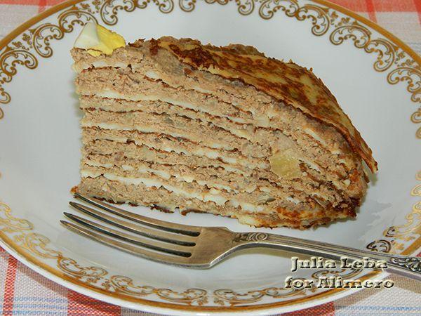 Блины из печени куриной торт