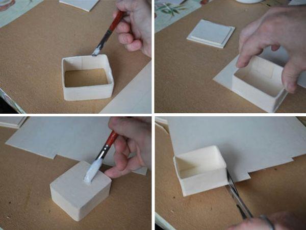 Для того, чтобы сделать дно, на торцы боковушки шкатулки нанесите клей. Поставьте шкатулку на картон и подождите, когда она подсохнет. Лишний картон отрежьте ножницами. Приклейте второй слой картона на дно шкатулки:  нанесите клей, поставьте шкатулку на картон, хорошо прижмите и ждите, когда приклеится. Лишний картон опять отрежьте ножницами.