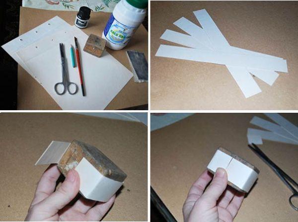 Нарежьте полоски картона шириной 3-4 см (это - высота будущей шкатулки). Оберните полоску картона вокруг заготовки. Лишнюю длину полоски обрежьте. Края должны примыкать друг к другу. Эту полоску ни в коем случае никуда не приклеивайте.