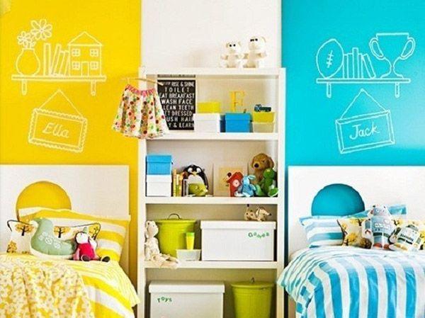 Использование разной цветовой гаммы в оформлении стен у кровати мальчика и девочки – популярный вариант. Для первой часто используются синий, голубой, зелёный цвета. Для второй – розовый, жёлтый, сиреневый.