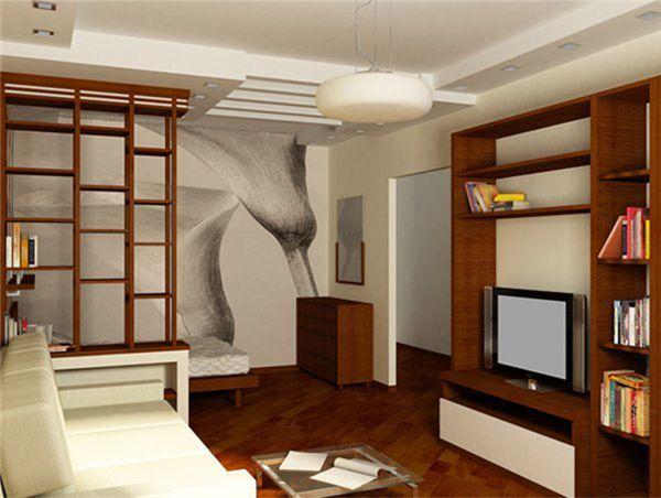 Спальни как таковой в этом интерьере нет, отделено лишь спальное место. Благодаря этому гостиная получилась просторной.