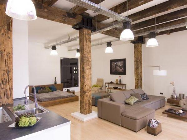 Объединение нескольких функциональных зон часто встречается в интерьерах, выполненных в стиле лофт, где главное - простор и свобода во всём.