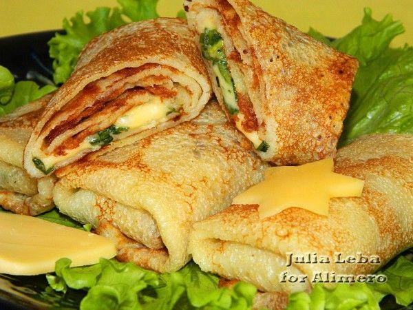 блины на молоке с зеленью и сыром рецепт с фото