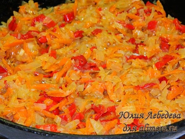 Лук, морковь, болгарский перец