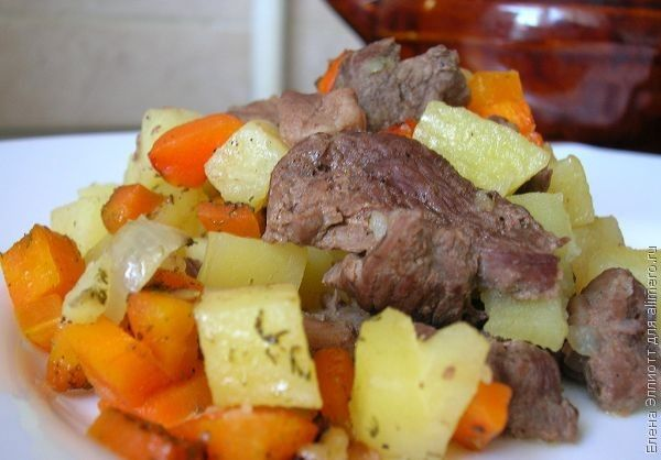 рецепты говядины с овощами в горшочках в духовке