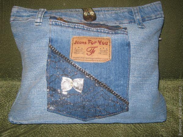 пошив сумки из джинсовой ткани.