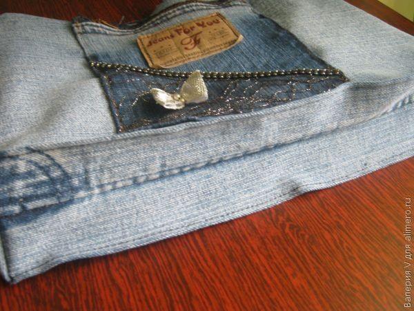 МК: Косметичка-органайзер из старой джинсовой юбки.