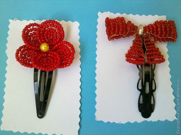 Заколки из бисера цветок и бантик