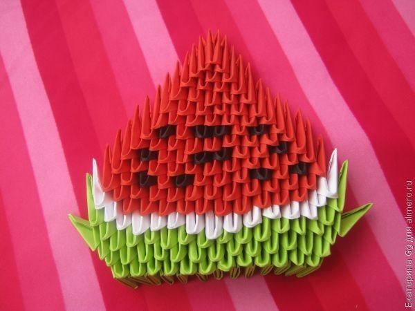 Как сделать арбуз модульное оригами
