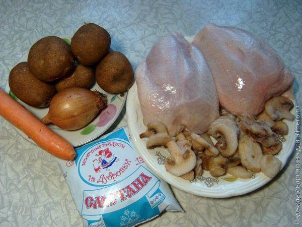Жаркое из курицы с грибами