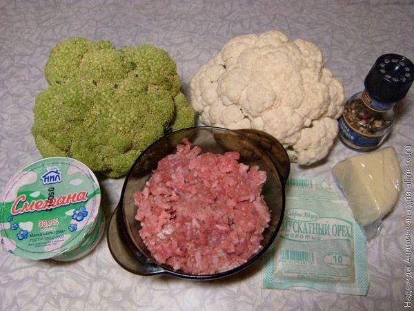 Цветная капуста и брокколи, запеченные с фрикадельками