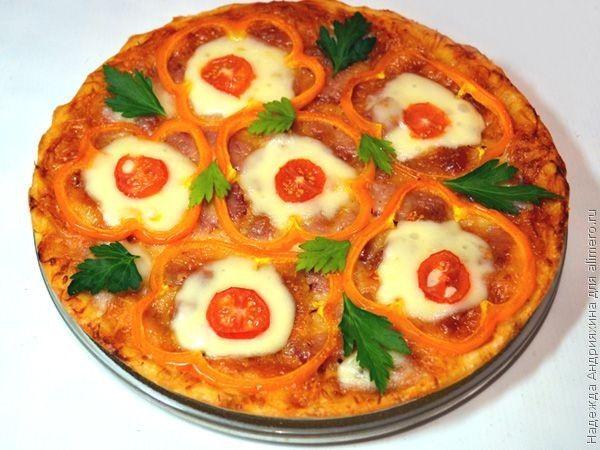 Вкусная пицца с колбасой в духовке рецепт 3