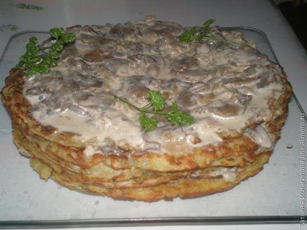 торт из драников-блинов с грибным кремом-соусом.