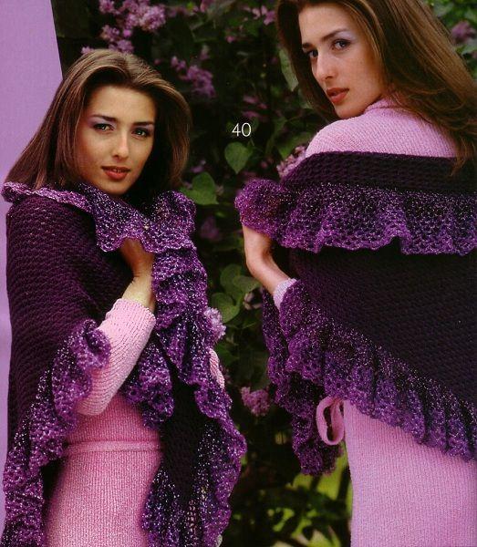 Достаточно легкая для вязания шаль. Ее может связать даже новичок. Нитки можно выбрать более теплые, например, полушерсть, тогда шаль будет объемной и теплой.