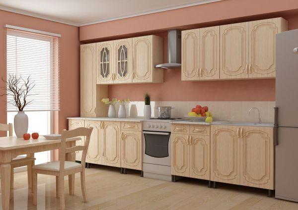 Красивая светлая кухня для всех, кто предпочитает такие оттенки. На мой взгляд. Здесь единственный недостаток – открытое пространство между шкафчиками и полом.