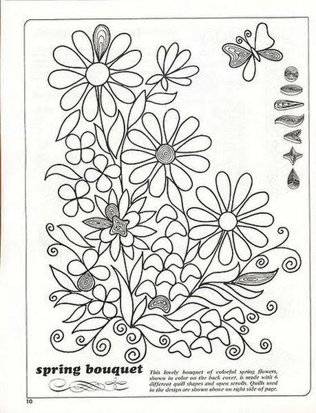 Пример схемы для создания цветочного панно в технике квиллинг. Используйте те цвета, которые вам понравятся, и результат вас точно порадует.
