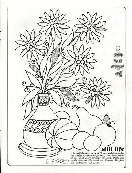 Красивый цветочный натюрморт с фруктами можно сделать, если взять за основу данную схему. Главное проявить фантазию и выбрать красивые цвета бумаги.