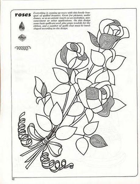 Красивый и достаточно простой букет из роз, сделанный в техники квиллинг.  На схеме показываются, какие основные элементы понадобятся.